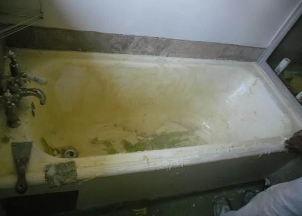 bath reenameling in progress